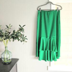 Green Ann Taylor High Low Midi Skirt